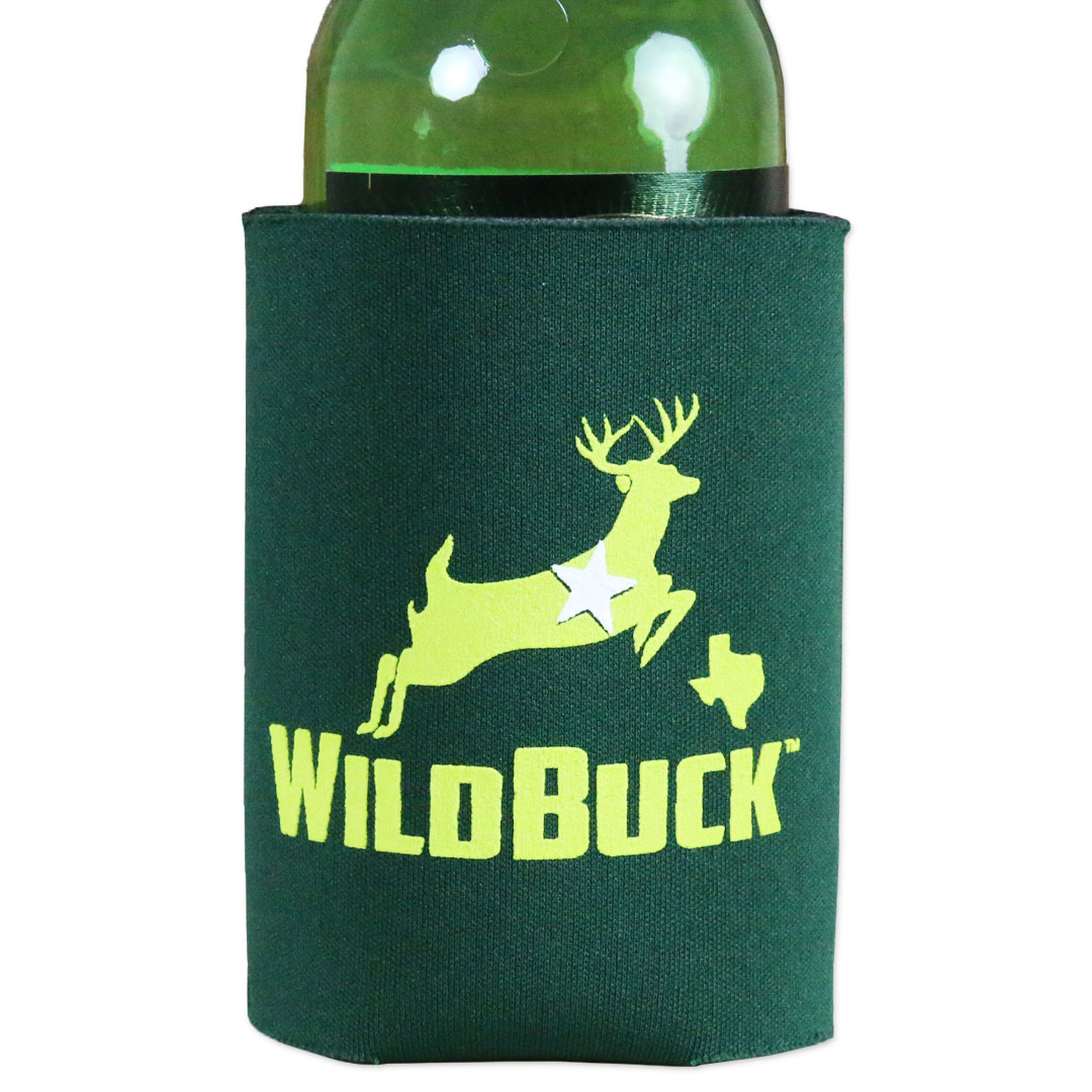 WildBuck Texas Hunter Green Neon Green Soft Koozie