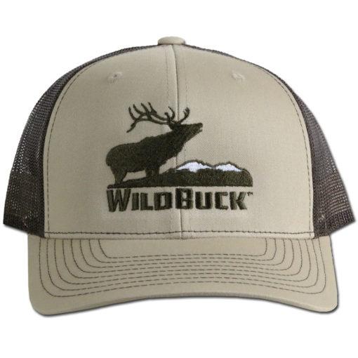 WildBuck Western Wildlife Bugling Elk Wapiti Tan Snapback Front
